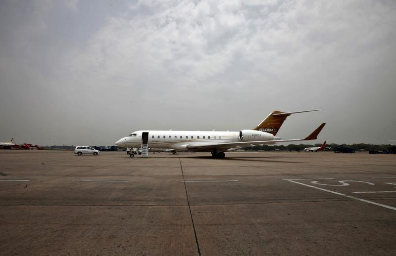 The Bombardier?s Global 6000 business jet stands on the tarmac at the airport in New Delhi