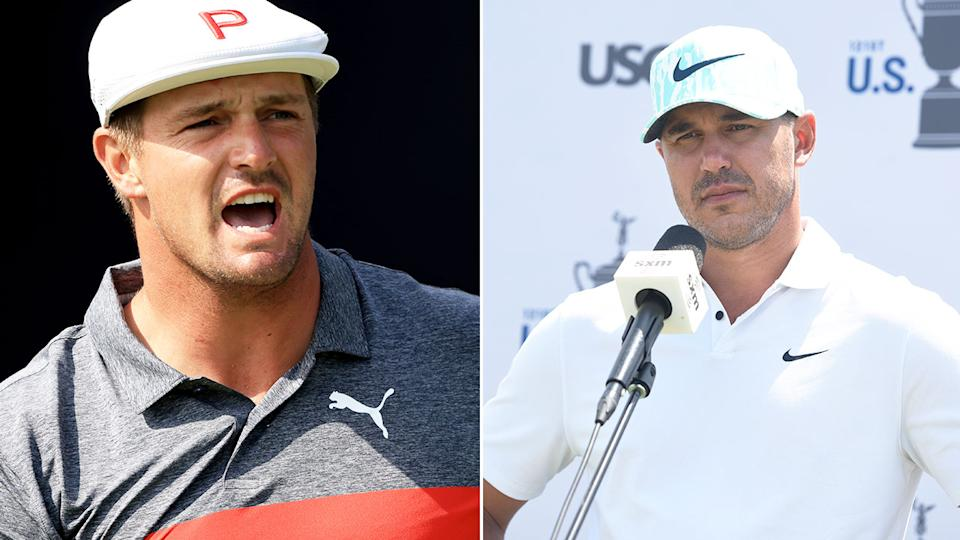 Bryson DeChambeau and Brooks Koepka took their fierce rivalry into the US Open golf major. Pic: Getty