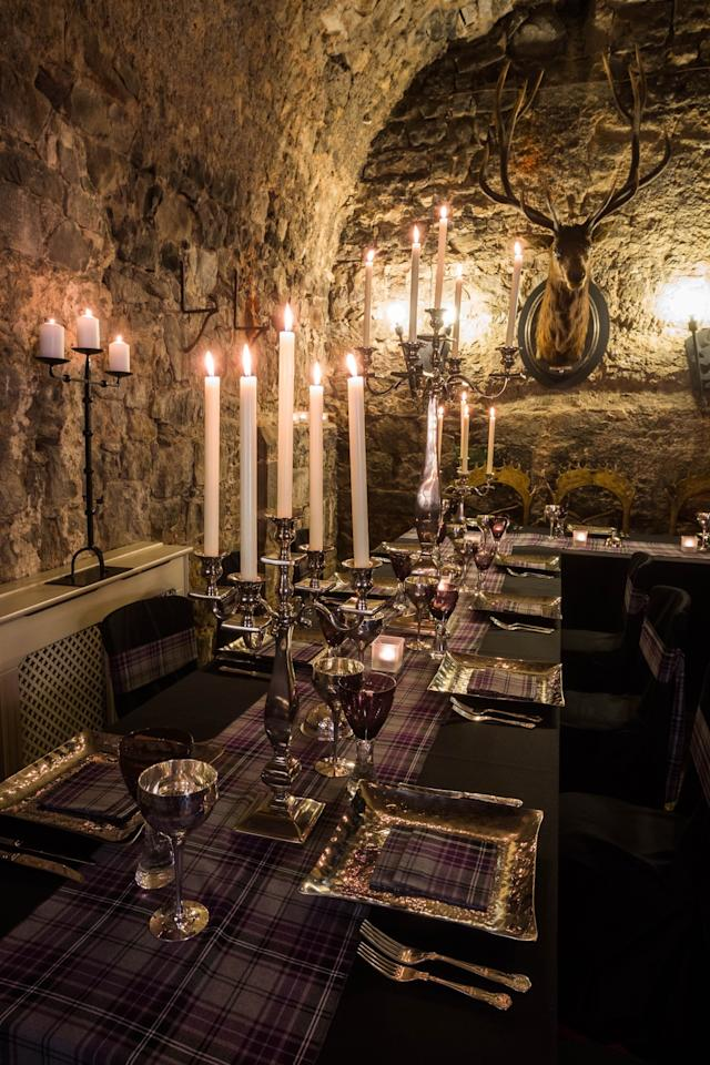 """<p><span>How about dinner in <a rel=""""nofollow"""" href=""""http://dundascastle.co.uk/"""">this 600-year-old castle</a>? The Auld Keep – the oldest part of the castle – features a stag's head, stone walls, candlesticks and velvet curtains all fit for Beauty and the Beast. The keep also houses its own chapel, while the castle has 17 luxury bedrooms. Doubles from £159 per night. [Photo: Dundas Castle]</span> </p>"""