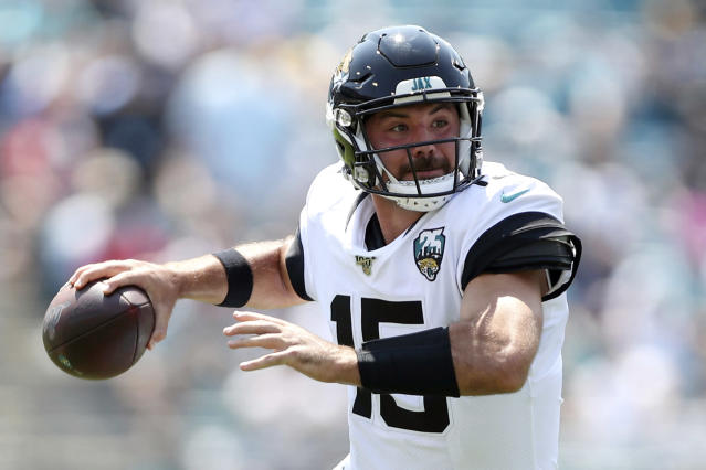 "FILE - In this Sunday, Sept. 8, 2019, file photo, Jacksonville Jaguars quarterback Gardner Minshew (15) throws a pass during an NFL football game against the Kansas City Chiefs,, in Jacksonville, Fla. The Jaguars are turning to ""The 'Stache."" Rookie Gardner Minshew will make his first NFL start at Houston, and the Jaguars have few concerns about his ability to step in for Nick Foles. (AP Photo/Perry Knotts, File)"