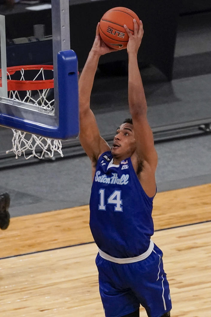 Seton Hall guard Jared Rhoden dunks during the first half of an NCAA college basketball game against St. John's in the quarterfinals of the Big East conference tournament, Thursday, March 11, 2021, in New York. (AP Photo/Mary Altaffer)