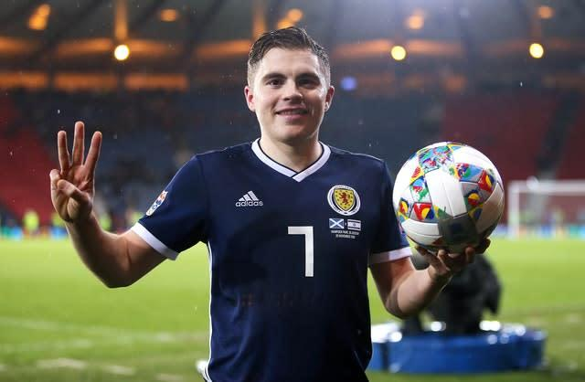 James Forrest hit a hat-trick when Scotland beat Israel in 2018 (PA)