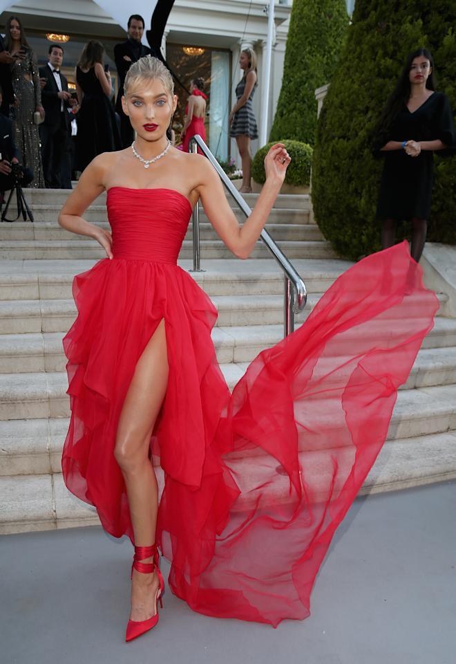 <p>Elsa Hosk opted for a striking red gown by Ermanno Scervino for the 2018 amfAR Gala during Cannes Film Festival on 17 May. [Photo: Getty] </p>