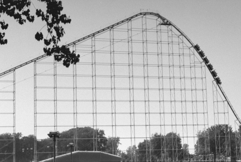 """<p>From the ground the drop of this <a href=""""https://www.cedarpoint.com/"""" rel=""""nofollow noopener"""" target=""""_blank"""" data-ylk=""""slk:Cedar Point"""" class=""""link rapid-noclick-resp"""">Cedar Point </a>standout is almost too much to bear. Indeed, when it opened in 1989, this was the steepest drop in the world. It was also the world's first hypercoaster, meaning the first roller coaster taller than 200 feet, and it held the record for tallest coaster until 1994. You can still ride it today, though the 60-degree angle may seem quaint compared to some more recent thrill rides. </p>"""