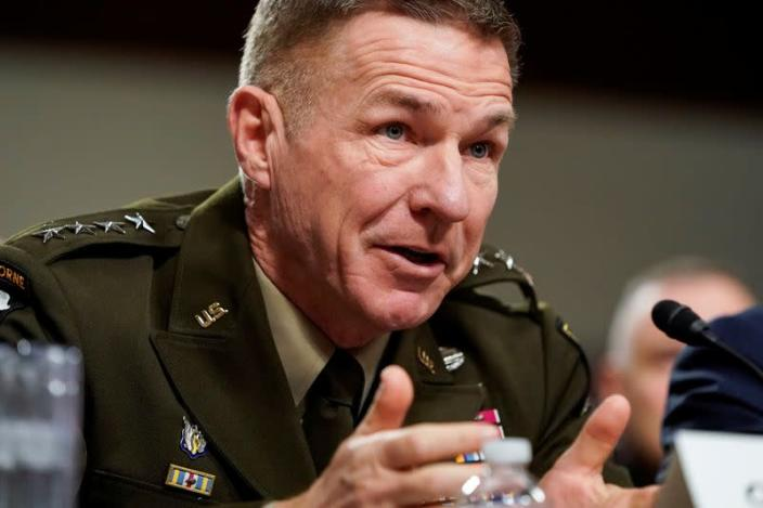FILE PHOTO: Gen. James C. McConville, chief of staff of the Army, testifies to the Senate Armed Services Committee during a hearing examining military housing on Capitol Hill in Washington