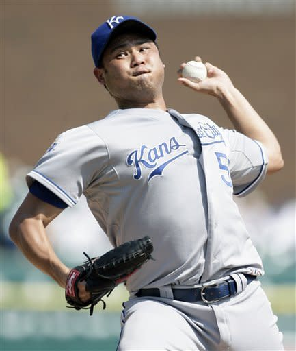 Kansas City Royals starter Bruce Chen pitches against the Detroit Tigers in the first inning of a baseball game on Saturday, July 7, 2012, in Detroit. (AP Photo/Duane Burleson)
