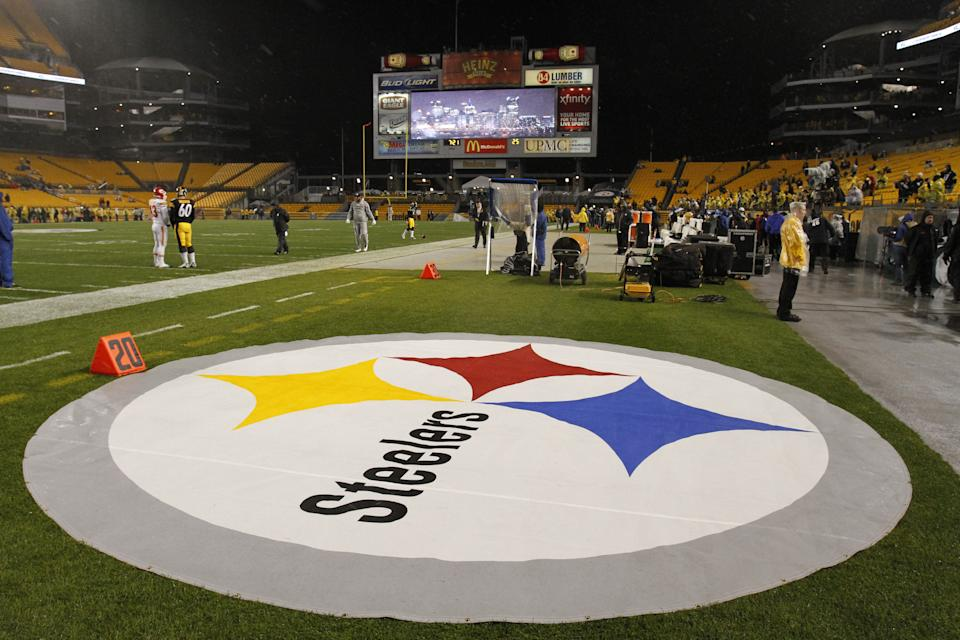 This is a Pittsburgh Steelers logo on the sidelines at Heinz Field before an NFL football game between the Pittsburgh Steelers and Kansas City Chiefs in Pittsburgh Monday, Nov. 12, 2012. (AP Photo/Gene J. Puskar)