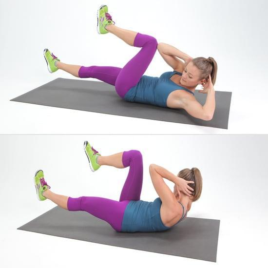 "<ul> <li>Lie flat on the floor with your lower back pressed to the ground (pull your abs down to also target your deep abs). Interlace your fingers, and put your hands behind your head.</li> <li>Bring your knees in toward your chest, and lift your shoulder blades off the ground.</li> <li>Straighten your right leg out to about a 45-degree angle to the ground while turning your upper body to the left, bringing your right elbow toward the left knee. Make sure your rib cage is moving and not just your elbows.</li> <li>Now switch sides, and do the same motion on the other side to complete one rep (and to create the ""pedaling"" motion).</li> </ul>"