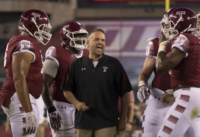 Then-Temple coach Matt Rhule yells to his team prior to a game against South Florida in 2016. (Mitchell Leff/Getty Images)