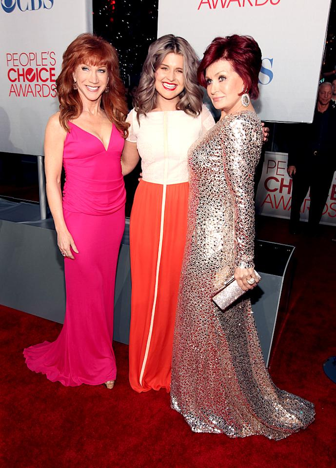 Kelly Osbourne was all smiles while trapped between two redheads -- funny lady Kathy Griffin (left) and her mom, Sharon. We're not quite sure what color you'd call Kelly's tresses ... (01/11/2012)