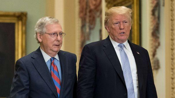 PHOTO: President Donald Trump walks with Senate Majority Leader Mitch McConnell at the Capitol on May 15, 2018, in Washington. (Getty Images, FILE)