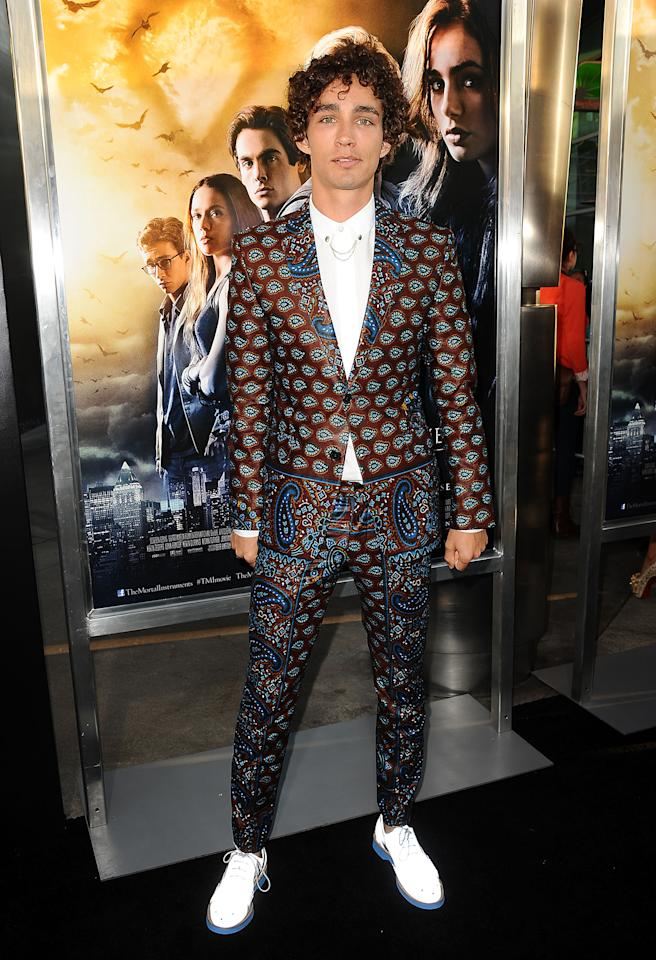 "<b>Who:</b> Robert Sheehan<br /><br /><b>Wearing:</b> Paisley, paisley, and more paisley<br /><br /><b>Where:</b> ""The Mortal Instruments: City of Bones"" premiere in Los Angeles"