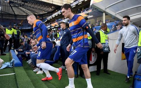 Andreas Christiansen of Chelsea makes his way out onto the pitch during the UEFA Europa League Quarter Final Second Leg match between Chelsea and Slavia Praha at Stamford Bridge on April 18, 2019
