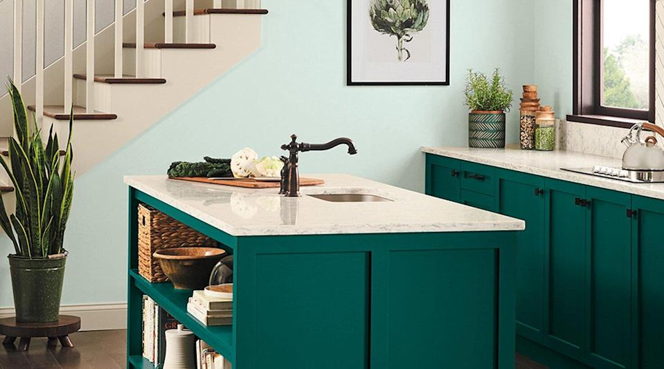 Cape Verde Teal Lower Cabinets