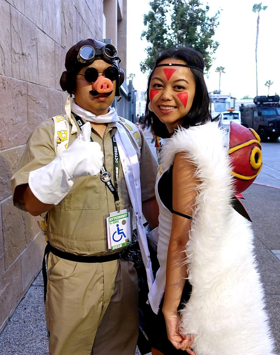 <p>Cosplayer dressed as Porco Rosso and Princess Mononoke from Hayao Miyazaki's anime films at Comic-Con International on July 21, 2018, in San Diego. (Photo: Angela Kim/Yahoo Entertainment) </p>