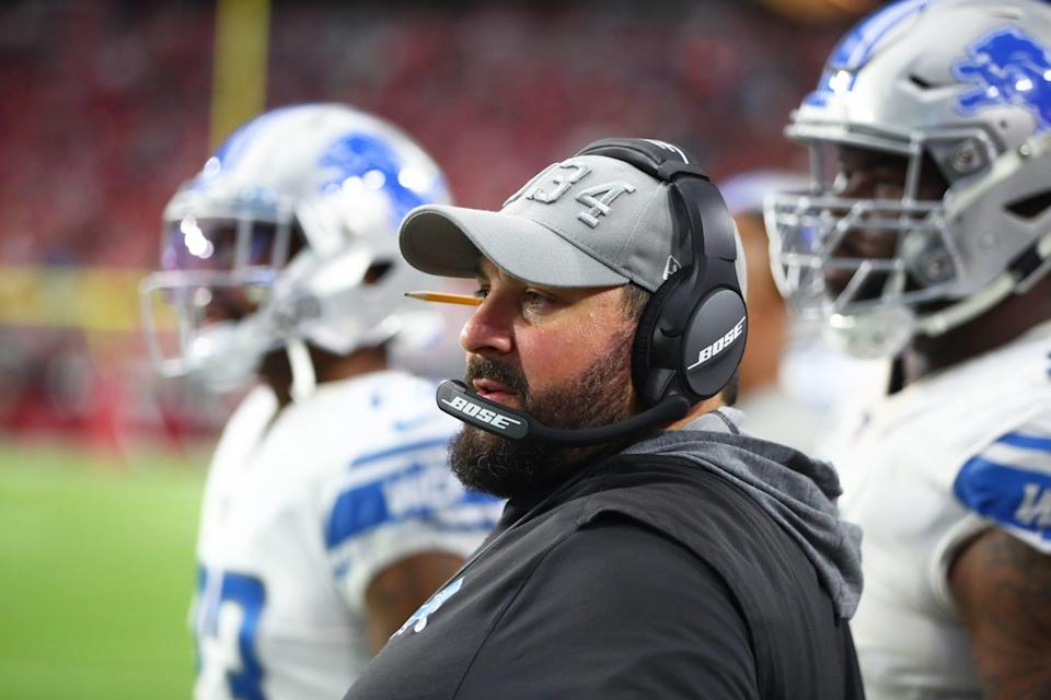 Detroit Lions head coach Matt Patricia watches action against the Arizona Cardinals, Sept. 8, 2019 in Glendale, Ariz.