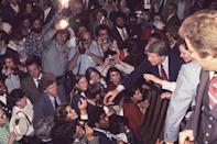 <p>After his win against incumbent President Gerald Ford, Jimmy Carter and his wife Rosalynn Carter were photographed greeting fans on the way to the inaugural ball in 1977. </p>