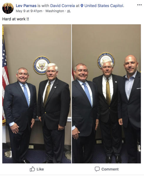 This Facebook screen shot provided by The Campaign Legal Center, shows in the left photo, Lev Parnas, left, with former Rep. Pete Sessions, R-Texas.  In the right photo from left are Lev Parnas, former Rep. Pete Sessions, R-Texas and David Correia, on Capitol Hill in Washington, posted on May 9, 2018.  (The Campaign Legal Center via AP)