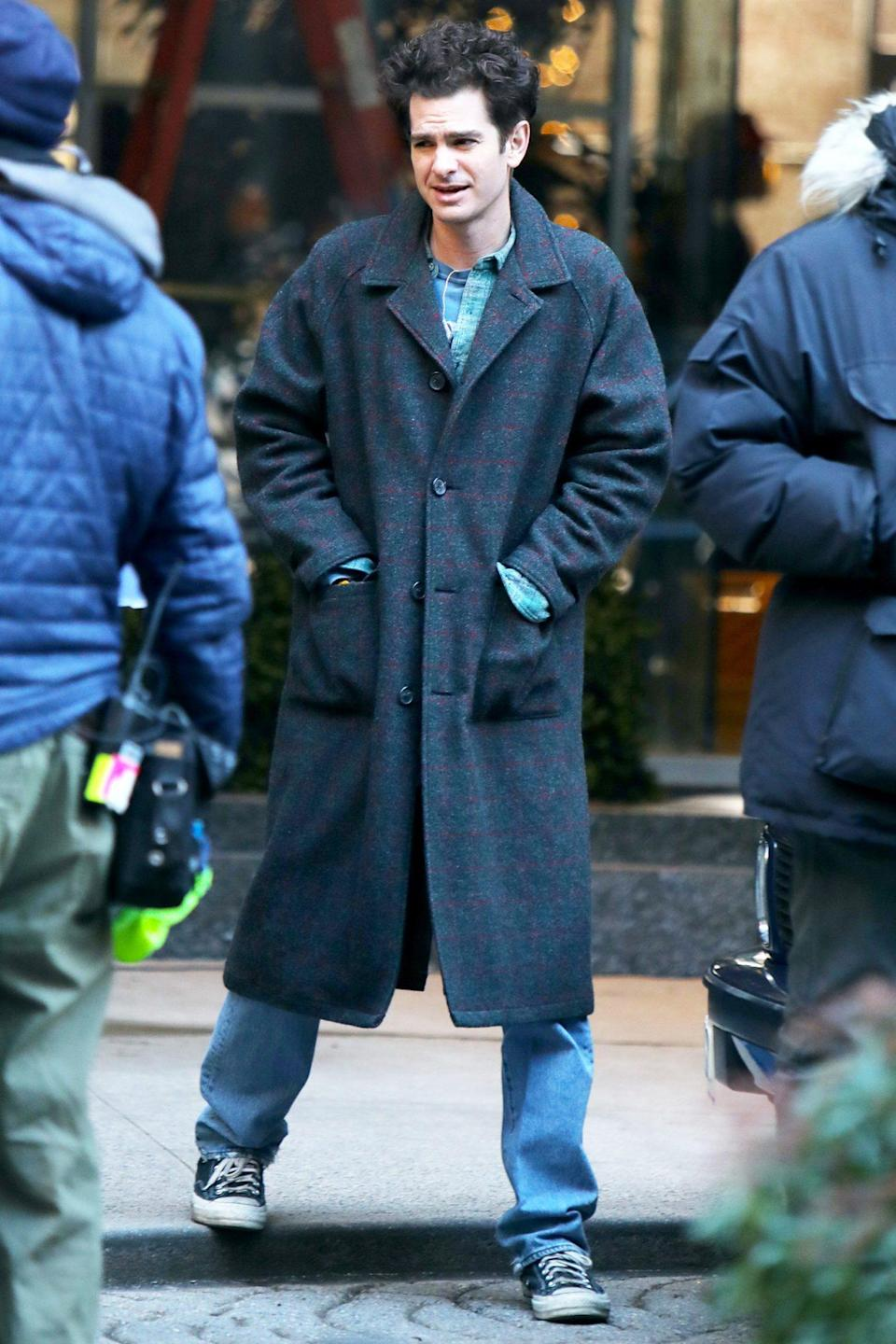 <p>Andrew Garfield bundles up while filming <em>Tick Tick Boom </em>in N.Y.C. on Monday.</p>