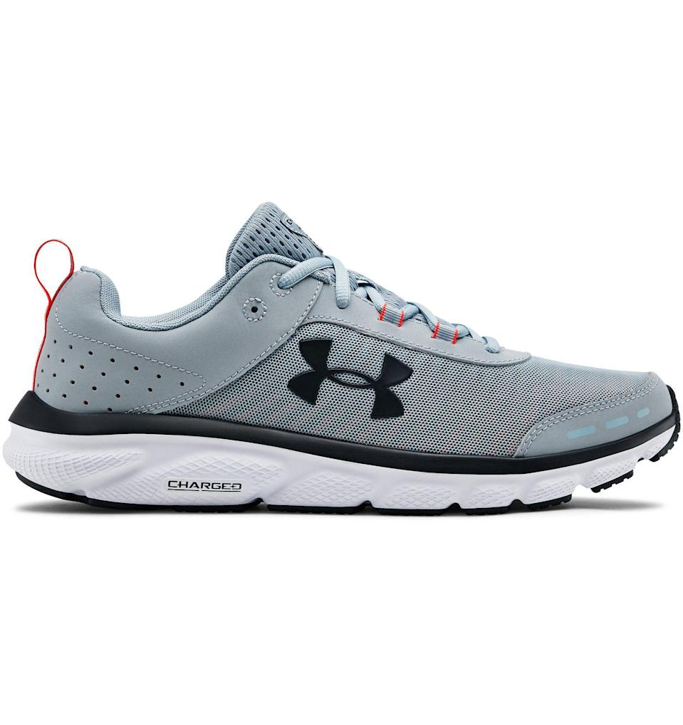 """<p><strong>Under Armour</strong></p><p>underarmour.com</p><p><strong>$70.00</strong></p><p><a href=""""https://go.redirectingat.com?id=74968X1596630&url=https%3A%2F%2Fwww.underarmour.com%2Fen-us%2Fua-charged-assert-8%2Fpid3021952&sref=https%3A%2F%2Fwww.prevention.com%2Flife%2Fg27288061%2Ffathers-day-gift-ideas%2F"""" rel=""""nofollow noopener"""" target=""""_blank"""" data-ylk=""""slk:Shop Now"""" class=""""link rapid-noclick-resp"""">Shop Now</a></p><p>Unfortunately, """"dad shoes"""" only look good on non-dads. Fix him up with this cooler pair of <a href=""""http://www.prevention.com/fitness/workout-clothes-gear/a19583767/best-walking-shoes-for-women/"""" rel=""""nofollow noopener"""" target=""""_blank"""" data-ylk=""""slk:running shoes"""" class=""""link rapid-noclick-resp"""">running shoes</a> from Under Armou. Whether he's a serious runner or just likes to be comfy, he'll be happy.</p>"""