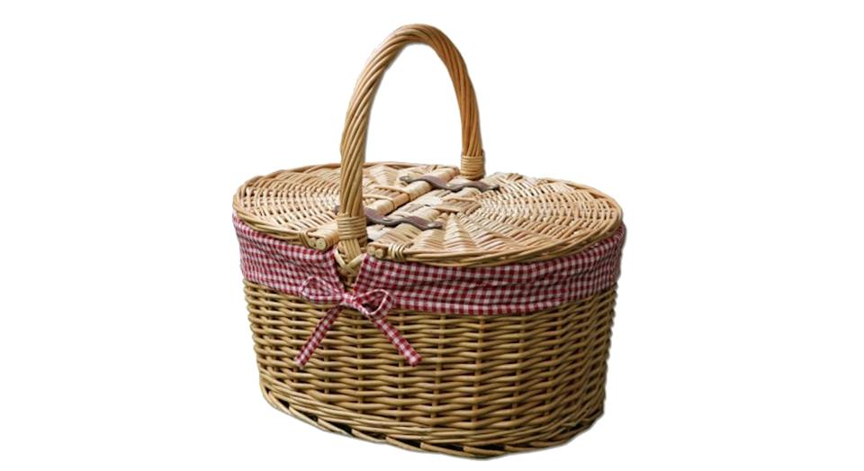 Oval Lidded Wicker Picnic Basket Red Check Lining