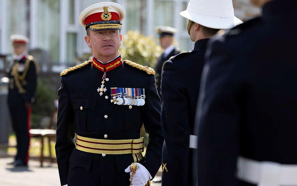 Maj Gen Holmes, pictured inspecting the guard at the supersession of the Commandant General Royal Marines - Joe Cater/PA Wire