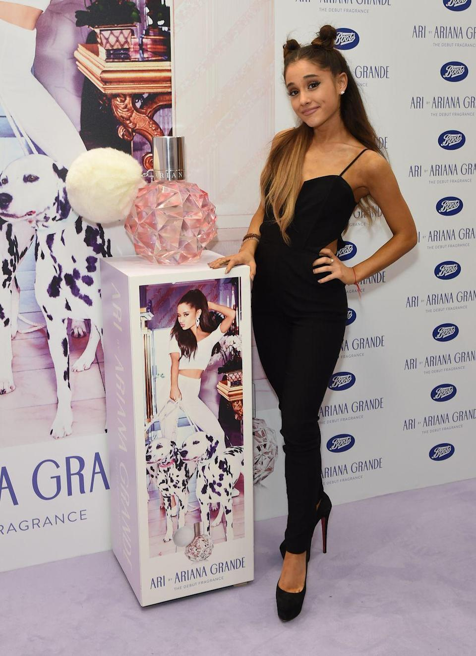 <p>Ariana Grande in London at her perfume launch.</p>