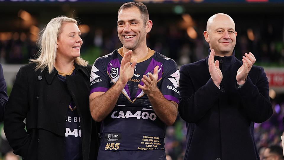 Cameron Smith, pictured here with wife Barbara and Todd Greenberg in 2019.