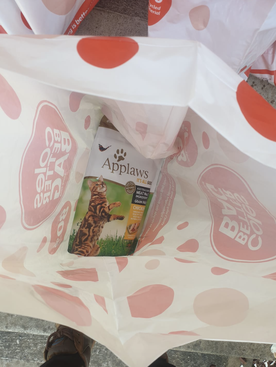 Photo shows a pack of cat food inside one Coles bag.