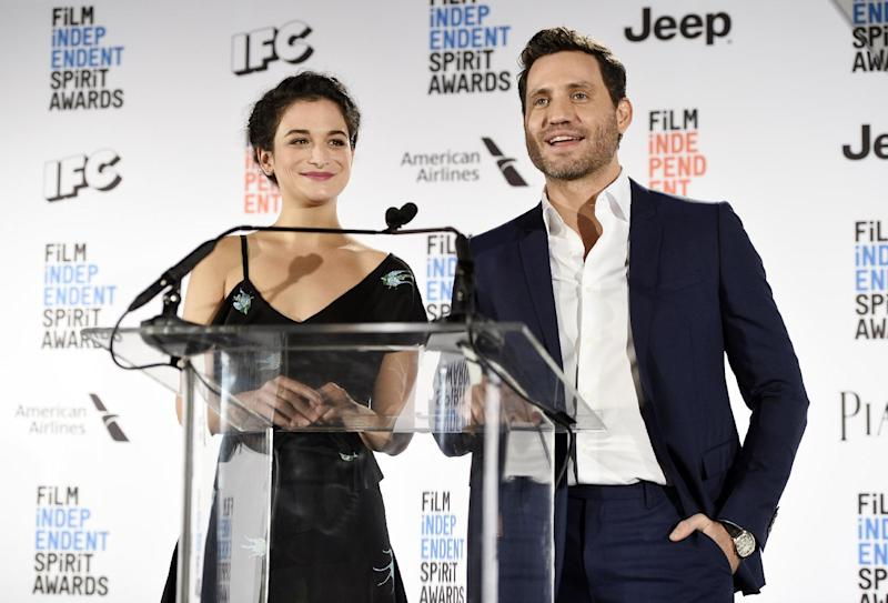Actress Jenny Slate, left, and actor Edgar Ramirez announce the nominations for the 2017 Film Independent Spirit Awards at the W Hotel on Tuesday, Nov. 22, 2016, in Los Angeles. The annual film awards show will be held on Feb. 25, 2017. (Photo by Chris Pizzello/Invision/AP)