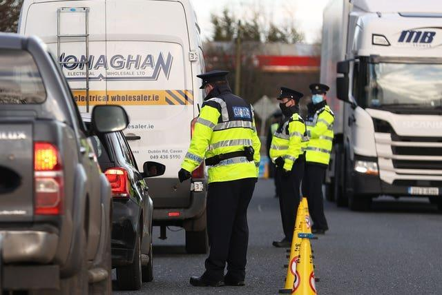 Garda stop vehicles at a checkpoint on the Irish border between Emyvale and Aughnacloy