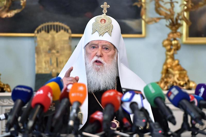Patriarch Filaret blamed the emergence of coronavirus on same-sex marriage (AFP via Getty Images)