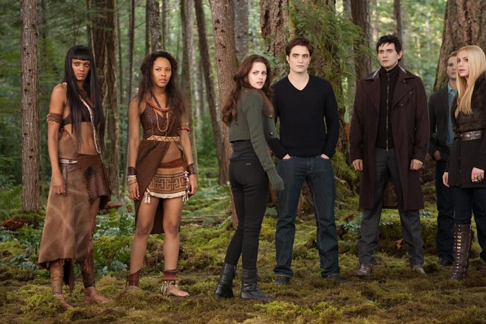 "From left, Judith Shekoni, Tracey Heggins, Kristen Stewart, Robert Pattinson, Christian Camargo, Peter Facinelli and Casey LaBow in ""The Twilight Saga: Breaking Dawn – Part 2."" (AP Photo/Summit Entertainment, Andrew Cooper, SMPSP)"