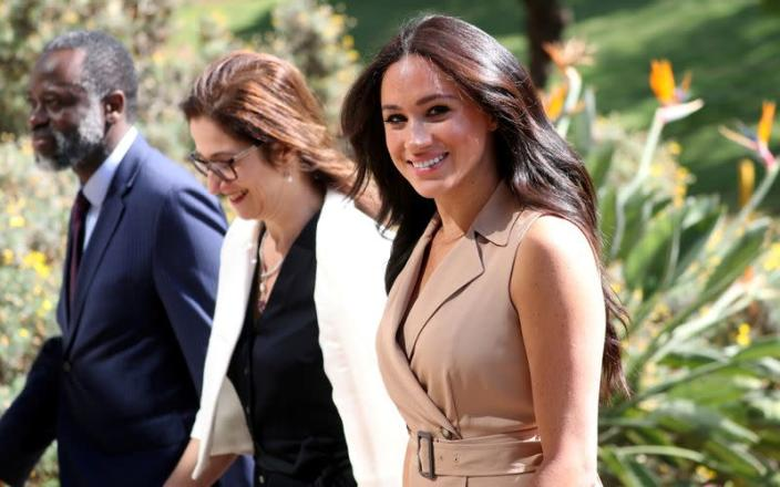 FILE PHOTO: Meghan Markle, Duchess of Sussex, visits the University of Johannesburg
