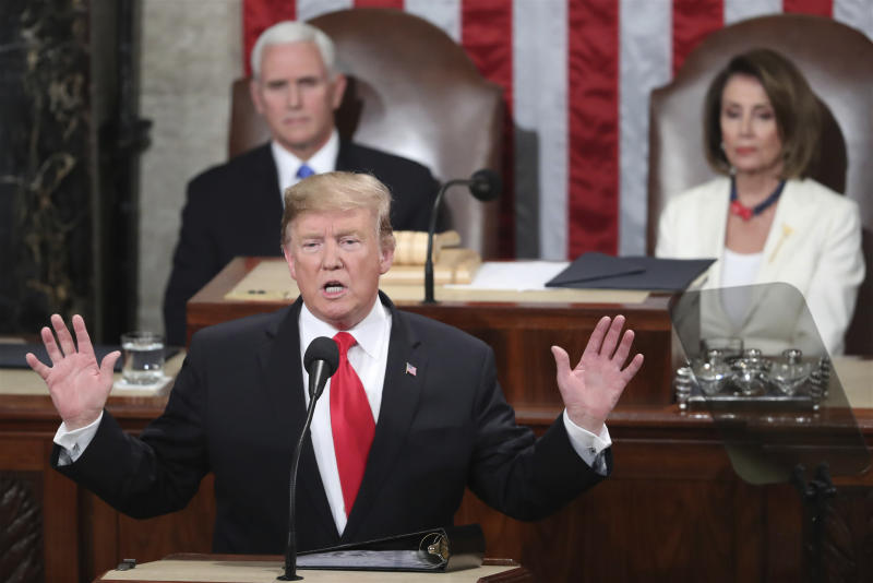 FILE - In this Feb. 5, 2019 file photo, President Donald Trump delivers his State of the Union address to a joint session of Congress on Capitol Hill in Washington, as Vice President Mike Pence and Speaker of the House Nancy Pelosi, D-Calif., watch, Tuesday, Feb. 5, 2019. With the next meeting between Trump and North Korean leader Kim Jong Un set for Feb. 27-28 in Vietnam, there's hope and caution in South Korea on whether the leaders could agree to tangible steps toward reducing the North's nuclear threat after a year of soaring but fruitless talks. (AP Photo/Andrew Harnik, File)