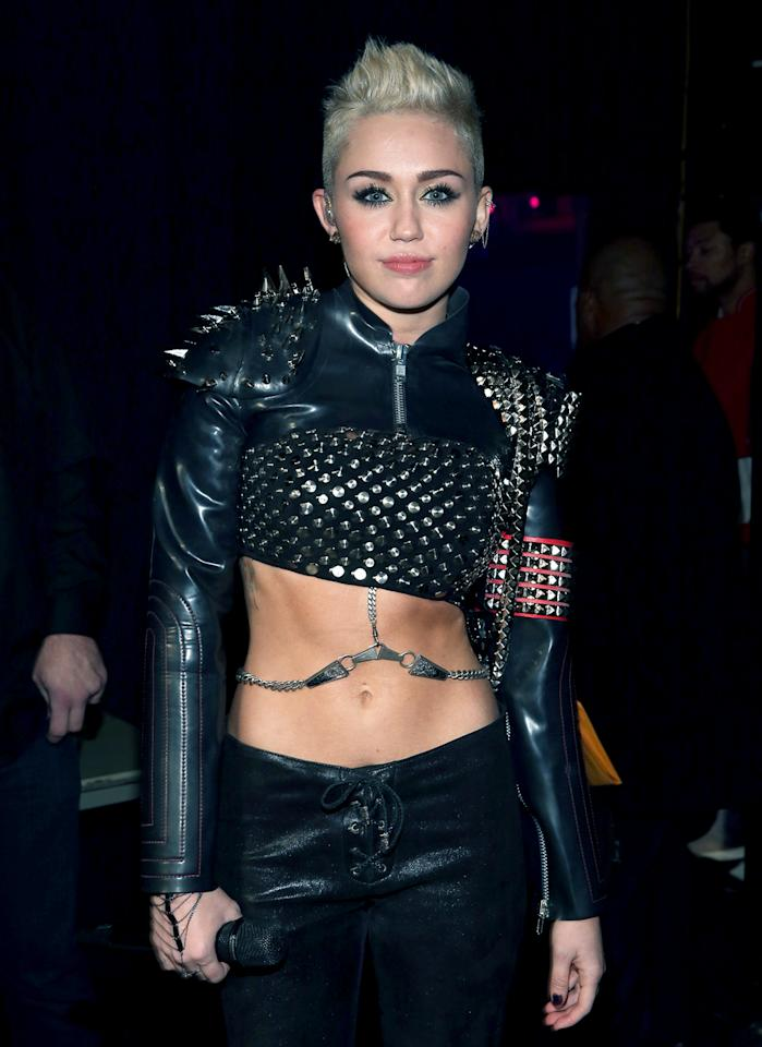 "Miley Cyrus's impressive abs are courtesy of good genes and Mari Winsor Pilates workouts. ""Miley is a fan of all Pilates exercises, in particular those that sculpt the abs,"" said Winsor, who includes a few of their favorite strengtheners (like the crisscross situp) on a DVD."