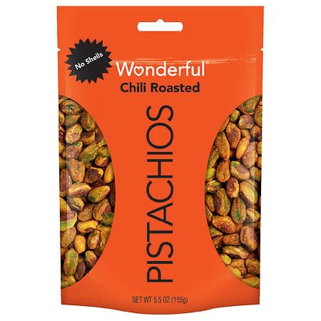 """<p>Manaker says the <a href=""""https://www.popsugar.com/buy/Wonderful-Shell-Chili-Roasted-Pistachios-545091?p_name=Wonderful%20No%20Shell%20Chili%20Roasted%20Pistachios&retailer=walgreens.com&pid=545091&price=7&evar1=fit%3Aus&evar9=47165324&evar98=https%3A%2F%2Fwww.popsugar.com%2Fphoto-gallery%2F47165324%2Fimage%2F47165330%2FWonderful-No-Shell-Chili-Roasted-Pistachios&list1=nutrition%2Chealthy%20snacks&prop13=api&pdata=1"""" rel=""""nofollow"""" data-shoppable-link=""""1"""" target=""""_blank"""" class=""""ga-track"""" data-ga-category=""""Related"""" data-ga-label=""""https://www.walgreens.com/store/c/wonderful-chili-roasted-no-shell-pistachios/ID=300394427-product"""" data-ga-action=""""In-Line Links"""">Wonderful No Shell Chili Roasted Pistachios</a> ($7) are filled with flavor, fiber, and plant-based proteins, adding that the polyphenols in pistachios contain antioxidant and anti-inflammatory properties. Bonus: You don't even have to deal with the shells.</p>"""