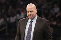 FILE - In this Feb. 29, 2020, file photo, Chicago Bulls head coach Jim Boylen prepares for a team timeout during the first half of an NBA basketball game against the New York Knicks, in New York. The Chicago Bulls fired coach Jim Boylen on Friday, Aug. 14, 2020, as the new front office begins its remake of a team that missed the playoffs again. (AP Photo/Mark Lennihan, File)
