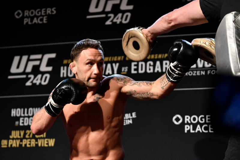 EDMONTON, AB - JULY 24: Frankie Edgar holds an open workout session for fans and media at the Starlite Room on July 24, 2019 in Edmonton, Alberta, Canada. (Photo by Jeff Bottari/Zuffa LLC/Zuffa LLC via Getty Images)