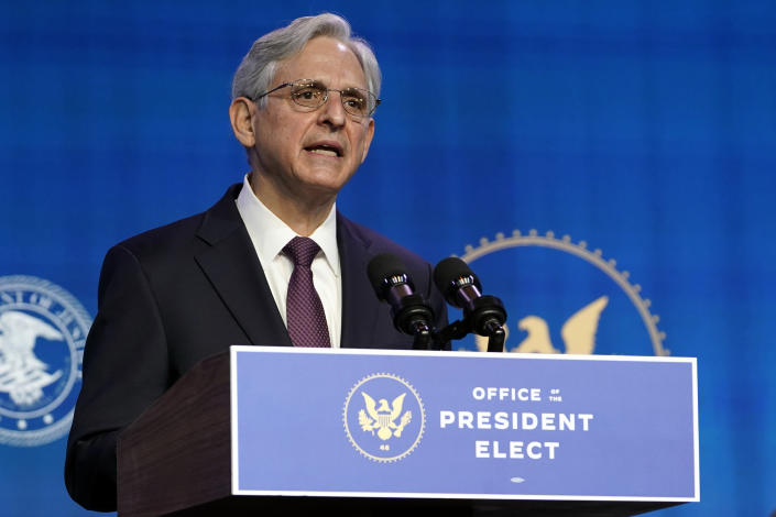 Merrick Garland speaks at the Queen theater in Wilmington, Del., on Jan. 7. (Susan Walsh/AP)