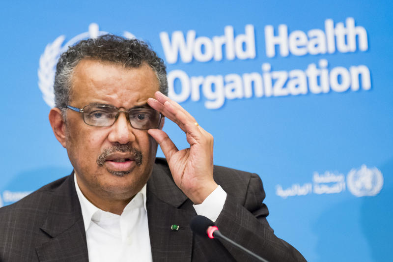 "Tedros Adhanom Ghebreyesus, Director General of the World Health Organization (WHO), talks to the media at the World Health Organization headquarters in Geneva, Switzerland, Thursday, Jan. 30, 2020. The World Health Organization declared the outbreak of a new deadly virus which originated from China a ""global health emergency."" China, where the coronavirus emerged, has reported 170 deaths and at least 7,800 infections from the infection. (Jean-Christophe Bott/Keystone via AP)"