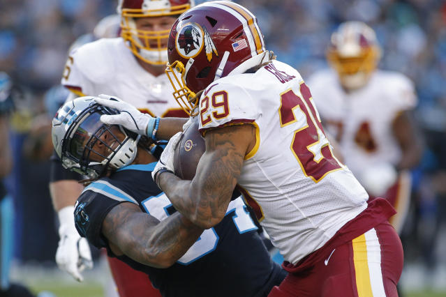 Shaq Thompson learned about Derrius Guice's game-breaking ability the hard way. (AP/Brian Blanco)
