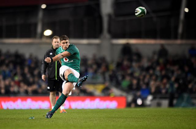 Rugby Union - Autumn Internationals - Ireland v Fiji - Aviva Stadium, Dublin, Republic of Ireland - November 18, 2017 Ireland's Ian Keatley kicks a penalty REUTERS/Clodagh Kilcoyne