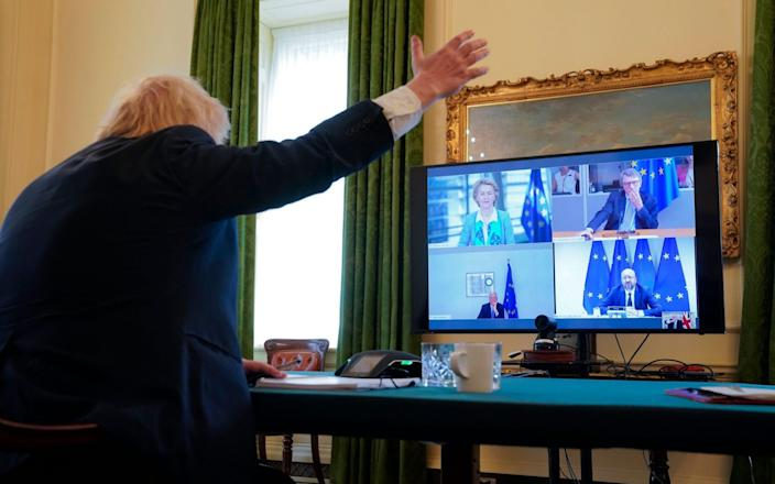 Boris Johnson during the video talks with the presidents of the three major EU institutions and Michel Barnier, the bloc's chief negotiator. - Andrew Parsons/Downing Street