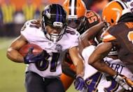 Baltimore Ravens wide receiver Kaelin Clay (81) carries the ball on a kick return in the first half against the Cleveland Browns at FirstEnergy Stadium. The Ravens won 33-27. Mandatory Credit: Aaron Doster-USA TODAY Sports