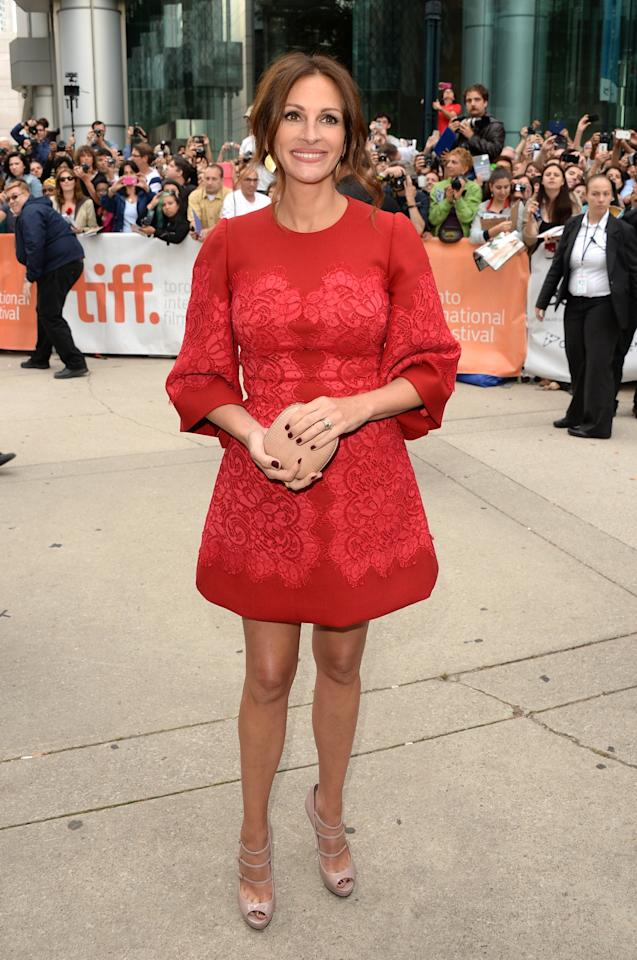"TORONTO, ON - SEPTEMBER 09: Actress Julia Roberts arrives at the ""August: Osage County"" Premiere during the 2013 Toronto International Film Festival at Roy Thomson Hall on September 9, 2013 in Toronto, Canada. (Photo by Jason Merritt/Getty Images)"
