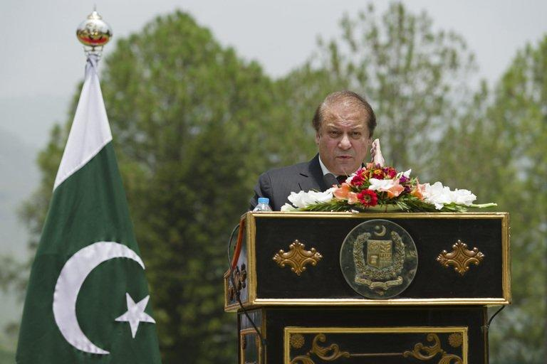 """Pakistan Prime Minister Nawaz Sharif during a press conference in Islamabad on June 30, 2013. Sharif has spoken of his government's """"firm resolve to promote the shared objective of a peaceful and stable Afghanistan"""""""