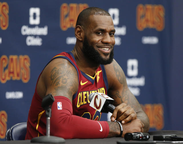 "Cavaliers superstar <a class=""link rapid-noclick-resp"" href=""/nba/players/3704/"" data-ylk=""slk:LeBron James"">LeBron James</a> expressed his staunch opposition to President Donald Trump. (AP)"