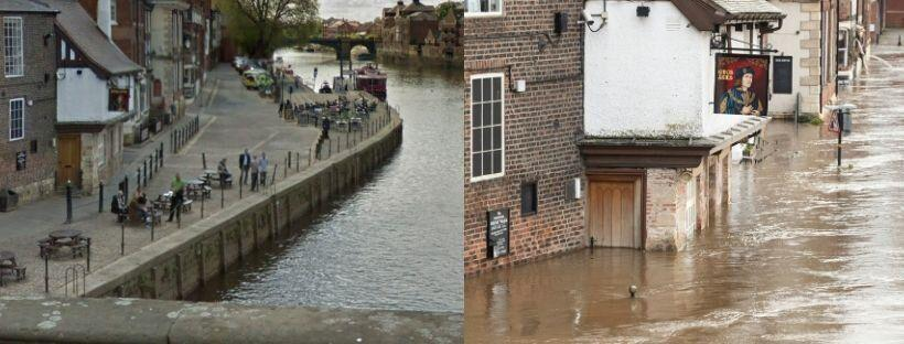 The King's Arms, known as 'the pub that floods' in York (picture on the right taken on February 23).  (Photo: Google Maps / Danny Lawson_PA Images via Getty Images)