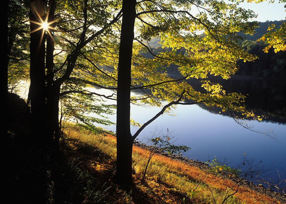 """<p><strong>Best camping in New Jersey:</strong> Worthington State Forest</p> <p>Worthington State Forest is a breath of fresh air for Garden State residents—and just an hour drive from Newark. Hike to the top of Mount Tammany and gaze out at the verdant, rolling hills of northern <a href=""""https://www.cntraveler.com/story/weekend-trip-from-nyc-asbury-park-new-jersey?mbid=synd_yahoo_rss"""" rel=""""nofollow noopener"""" target=""""_blank"""" data-ylk=""""slk:New Jersey"""" class=""""link rapid-noclick-resp"""">New Jersey</a>, before curling up in your sleeping bag on the banks of the Delaware River.</p>"""